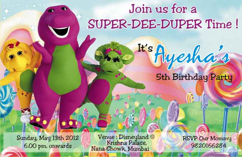 Barney+Birthday+Card+Invite+ invitation templates