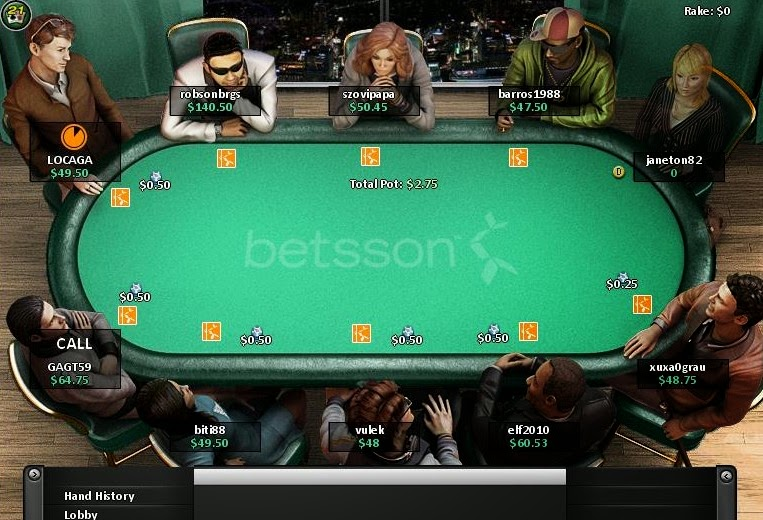 Betsson Poker Table Screen