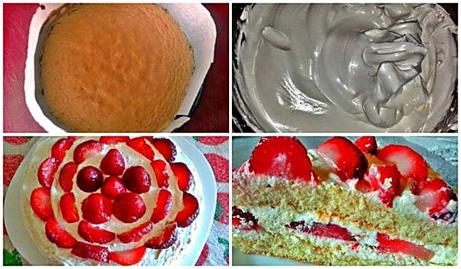 Preparación de la tarta flor de fresas