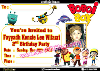 Undangan Boboiboy Kenzie Kartu Undangan Ulang Tahun Anak (Invitation Card)