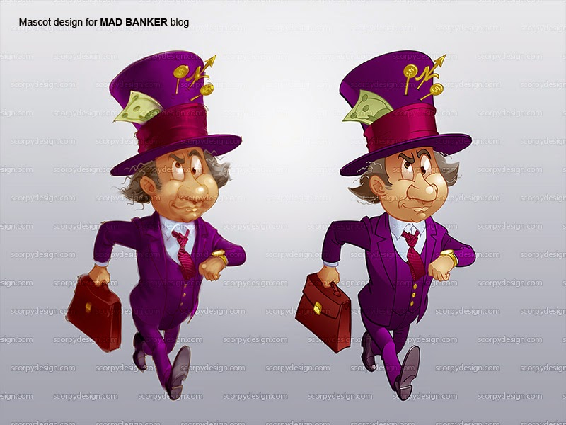 mad banker cartoon mascot design