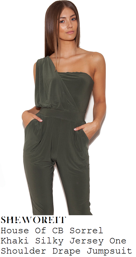 jessica-wright-khaki-green-asymmetric-one-shoulder-drape-jumpsuit