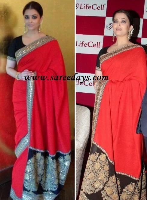 Latest saree designs aishwarya rai in red sabyasachi mukherjee saree aishwarya rai in red sabyasachi mukherjee saree altavistaventures Images