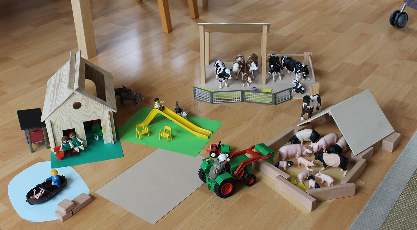 holz bauernhof für schleich tiere selber bauen - spiele & spielzeug