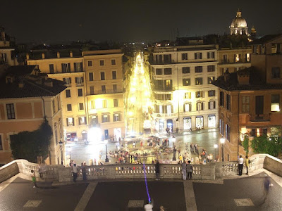 the spanish steps at night, rome italy