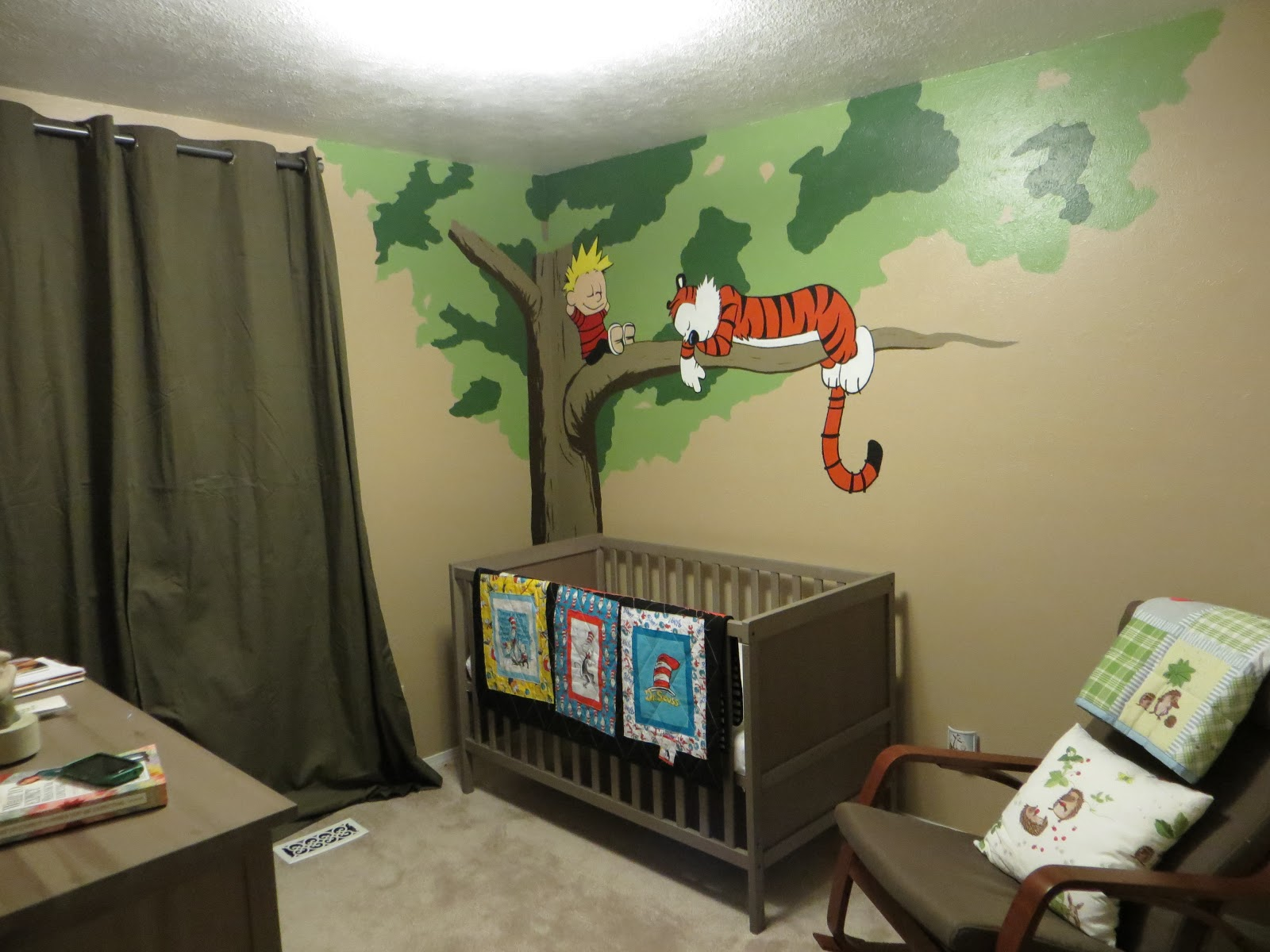 Home decor on pinterest calvin and hobbes wall art and for Calvin and hobbes nursery mural