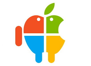 Logo Of Apple Merge With Android And Microsoft