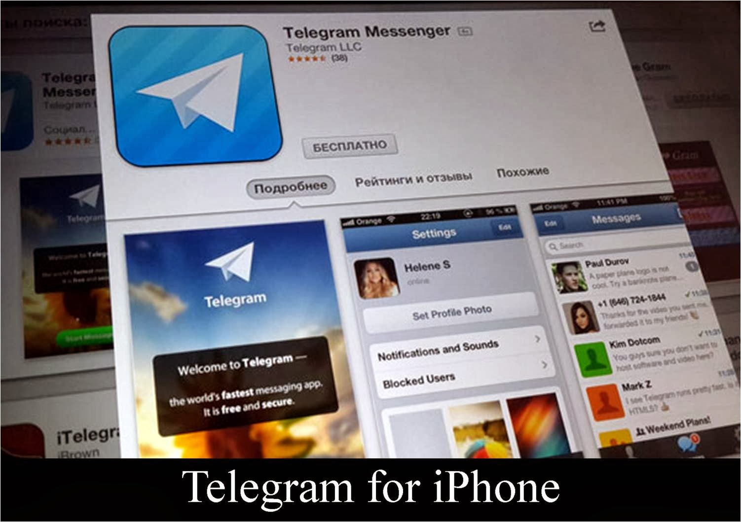 Telegram App on an iphone