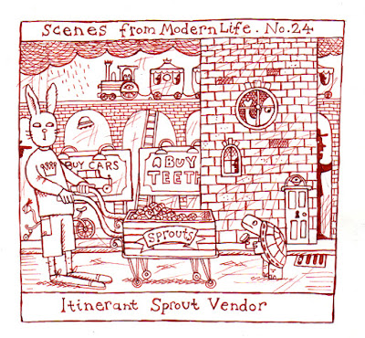 Drawing of an itinerant sprout vendor