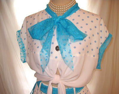 Polka Dot Summer Shorts Set, 80s Vintage Summer Romper Shirt Short Set
