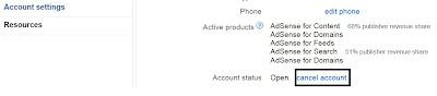 """לאחרונה צוות גוגל אדסנס הוסיף אופציה לסגור חשבון אדסנס לבד עלידי כניסה לחשבון גוגל אדסנס שלך.  כך תוכל לסגור חשבון אדסנס : 1 התחברות (log) לחשבון אדסנס שלך 2 כנס להגדרות חשבון (Account Settings) באנגלית  תפריט זה יופיע בצד שמאל 3 עכשיו עבר לסעיף """"פרטי החשבון"""" Account Information  4 כאן אתה יכול לראות אפשרות """"סטטוס חשבון""""; חשבונך אמור לראות """"פתוח"""" אליך, עכשיו לחץ על הקישור """"בטל את החשבון"""". 5 מלא את הפרטים הנדרשים עלידי הצוות של גוגל אדסנס, לאחר קיום כל השלבים אתה אמור לקבל איימל אישור פעולה מצוות גוגל אדסנס.  המלצה מגוגל"""