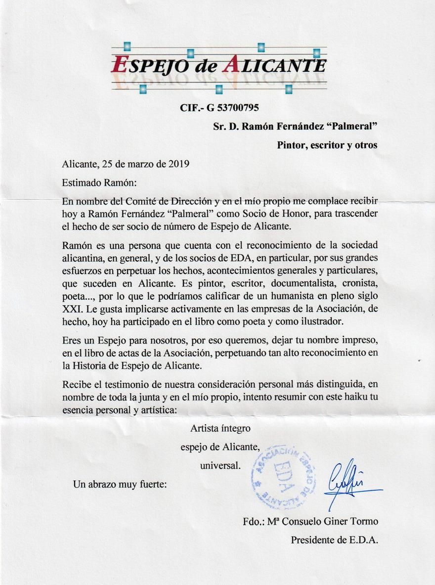 Socio de Honor para Ramón Palmeral