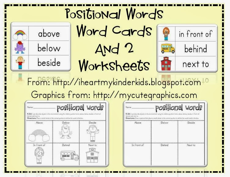 Heart My Kinder Kids: POSITIONAL WORDS WORKSHEETS AND WORD WALL ...