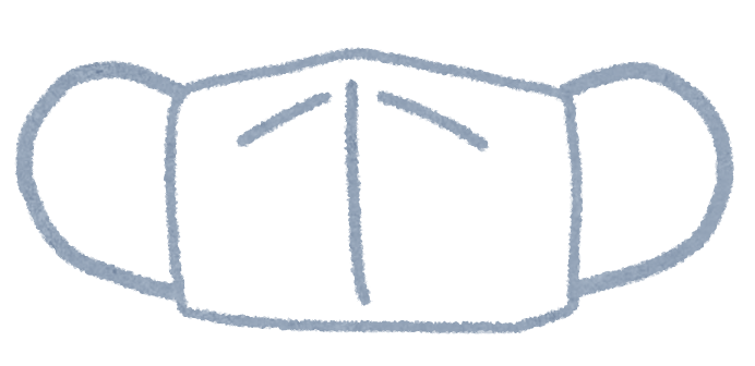 ひらがな 50音 ひらがな : 白いマスクのイラストです。