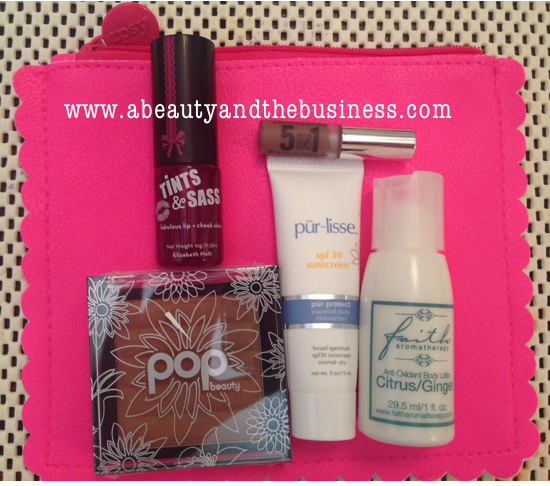 Tints & Sass, Pop Beauty Sunkissed Bronzer in Secret Sunshine, bareMinerals 5-in-1 BB Cream shadow, pur~lisse sunscreen for normal-dry skin, faith aromatherapy anti-oxidant body lotion, ipsy bag,