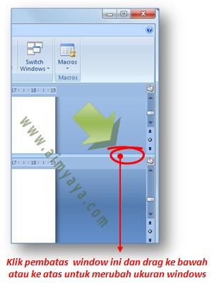 Gambar: cara menghilangkan / membuang split window di Microsoft Word