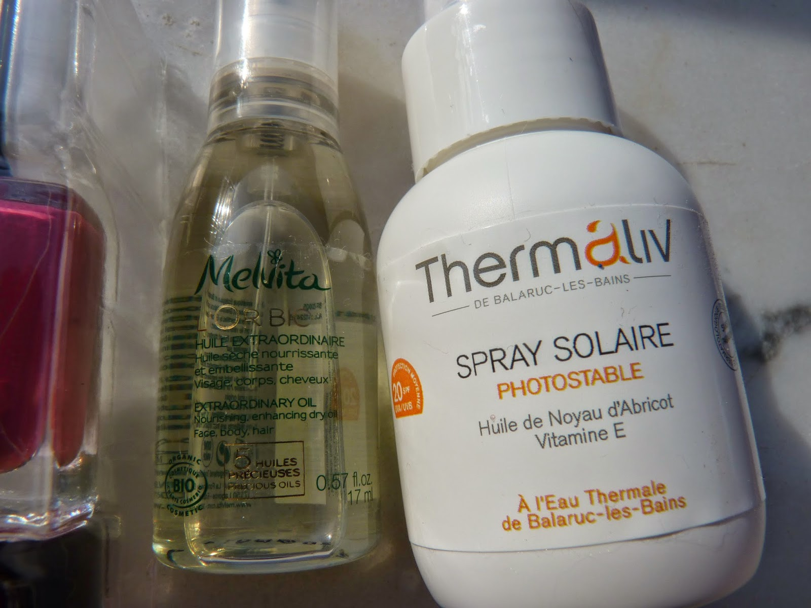 birchbox juin 2014, melvita, huile sèche, tout usage, protecteur solaire, spray, SPF 20, +, spray solaire, Thermaliv