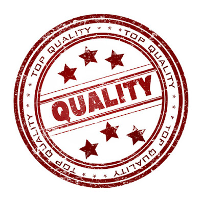 "A graphic of a red, ""quality"" stamp, as seen on products."
