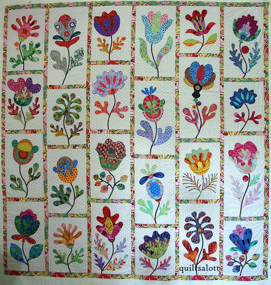 Glorious Applique Flower Garden Progress