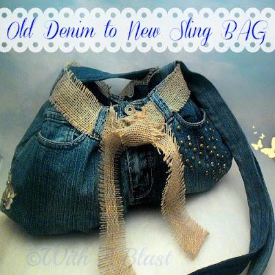 With A Blast: Old Denim to New Sling Bag    #upcycleddenim  #denim #sewing #crafts #slingbag  #bag #burlap