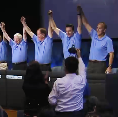Curiosity MSL lands on Mars. Victorious JPL team at the press conference post-landing on Mars. 6 August 2012. NASA/JPL.