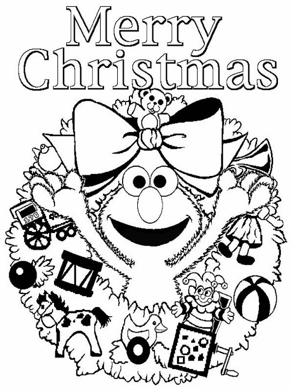 Merry Christmas Coloring Pages Elmo title=