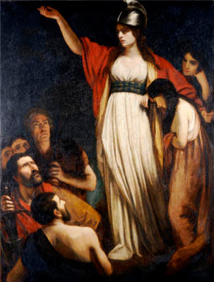 Queen Boadicea Boudicca waves her arms around a bit, while wearing a helmet and flowing robes, John Opie