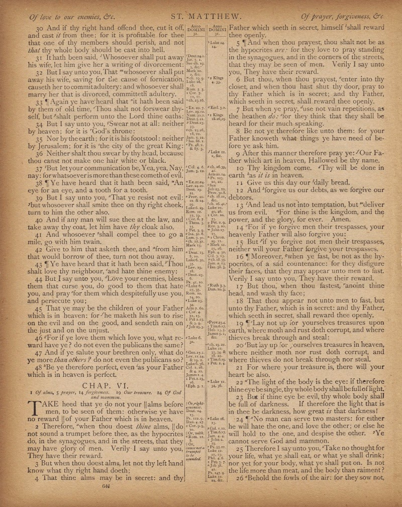 Antique Bible Page Printable Matthew 5:44-45, Love Your Enemies via Knick of Time
