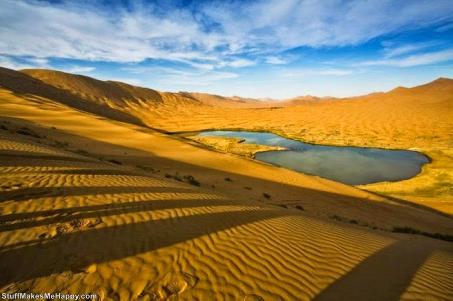 Desert with the Highest Fixed Dunes and Mysterious Lakes
