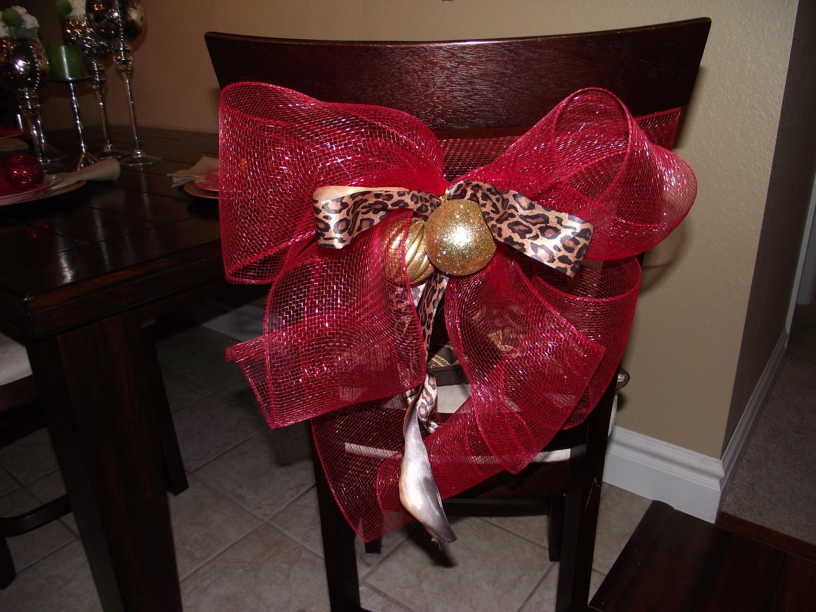 Copy cat looks diy christmas chair tiebacks - Decoracion navidad ...
