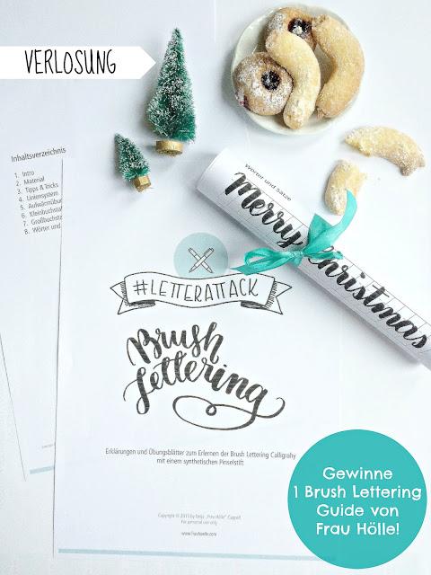 #letterattack, Brush Lettering Guide Frau Hölle, Verlosung, last minute Weihnachtsgeschenk zum Ausdrucken, Download, Sketnote, Sketchattack, Verlosung