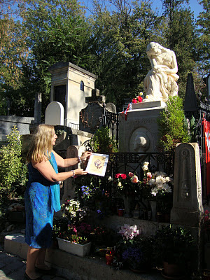 Maja Trochimczyk with a gift for Chopin's Tomb, Paris, France