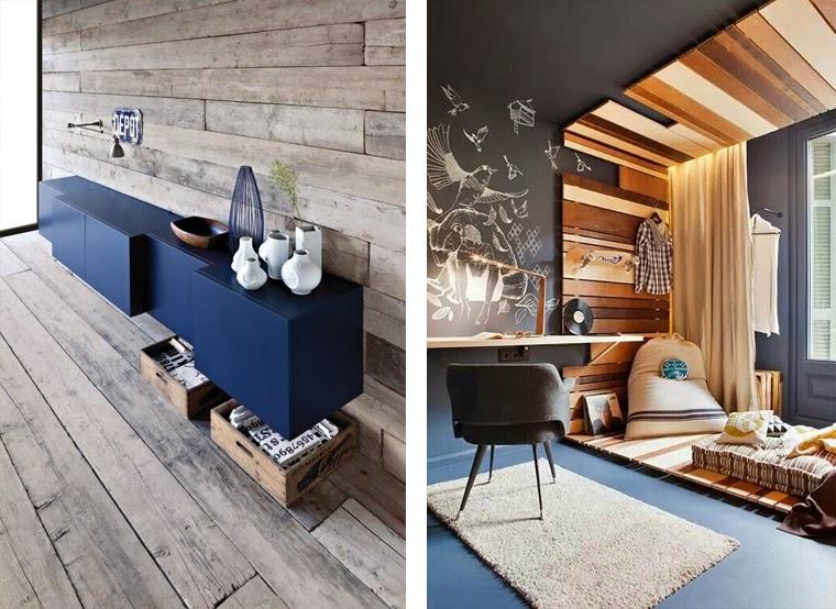 Revestimientos de madera reciclada inspiraci n espacios Revestimiento para paredes dormitorios