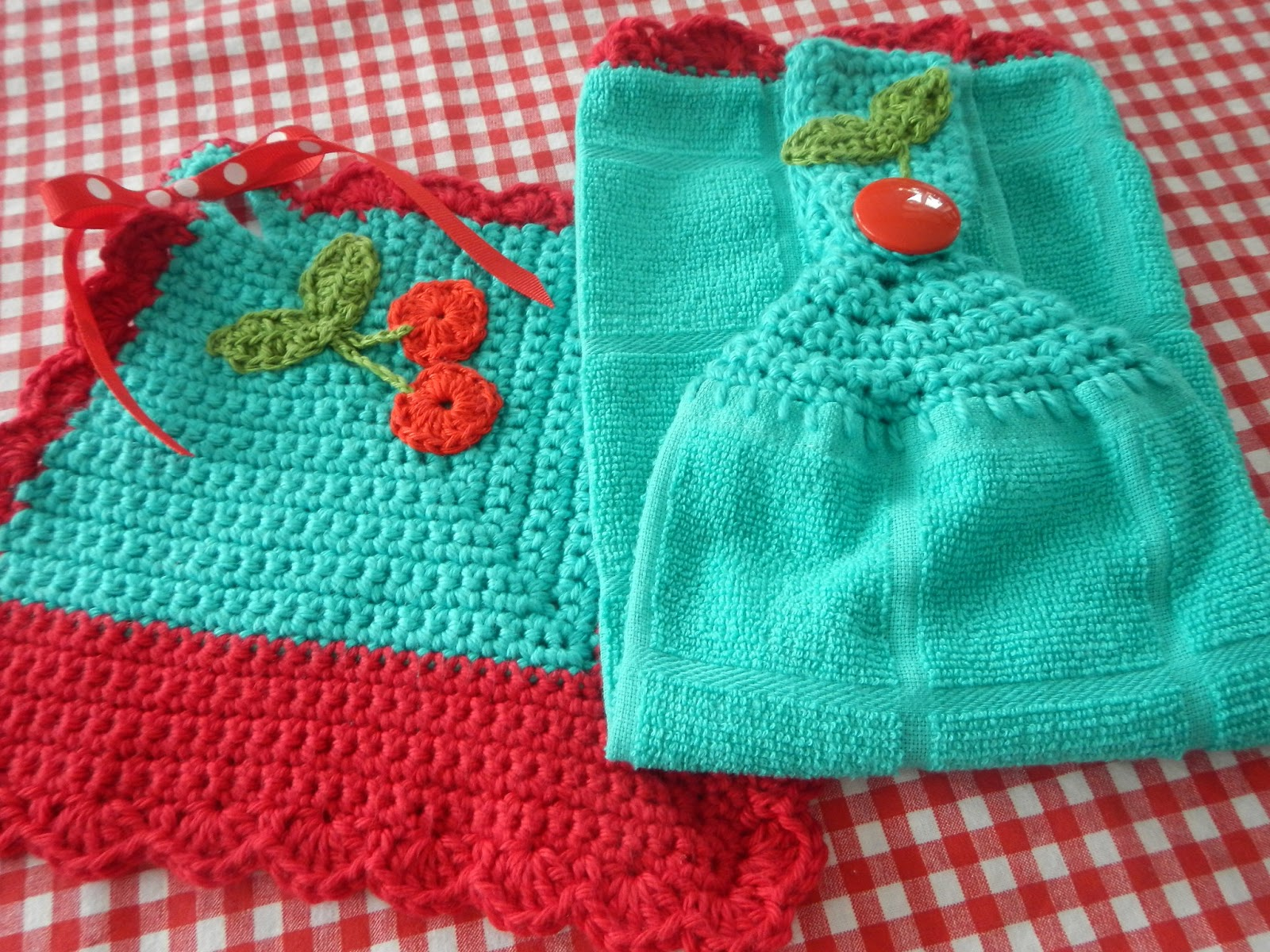 Apple Blossom Dreams: Bi-Colored Cherry Dishcloths and a Towel ...