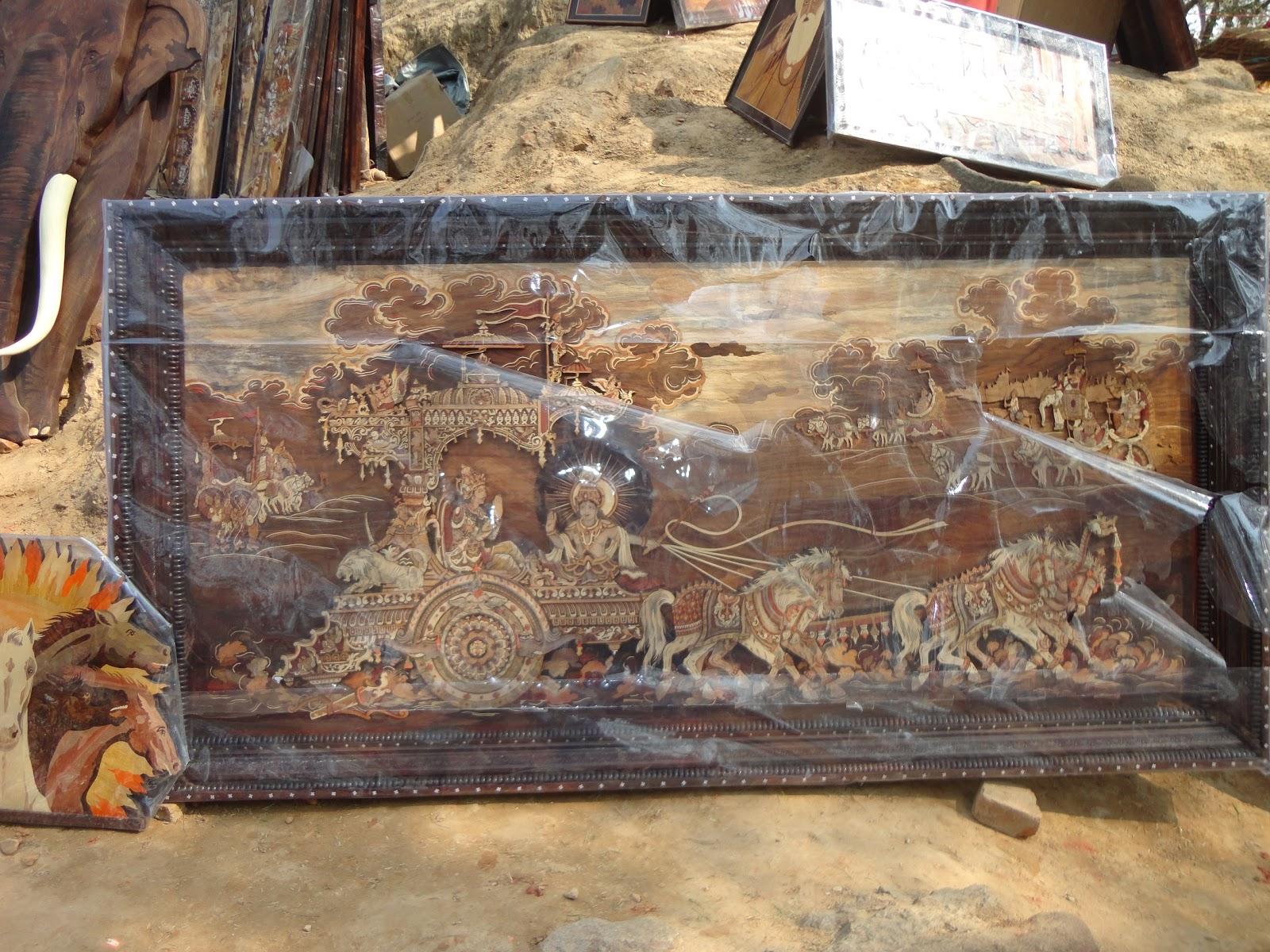Exquisite Woodwork crafts at Surajkund crafts mela,India