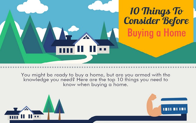 10 things to consider before buying a home infographic for Things to do to buy a house