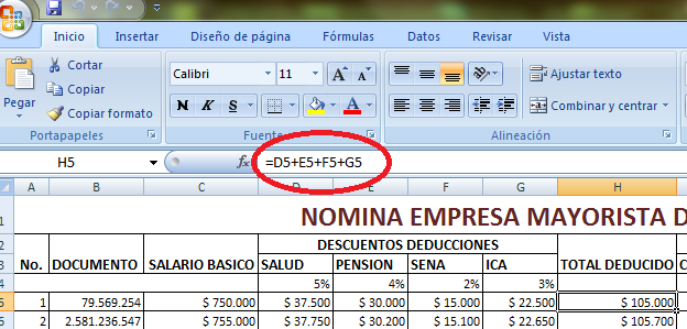 Herramientas informaticas formato nomina excel for Como hacer una nomina en excel con formulas