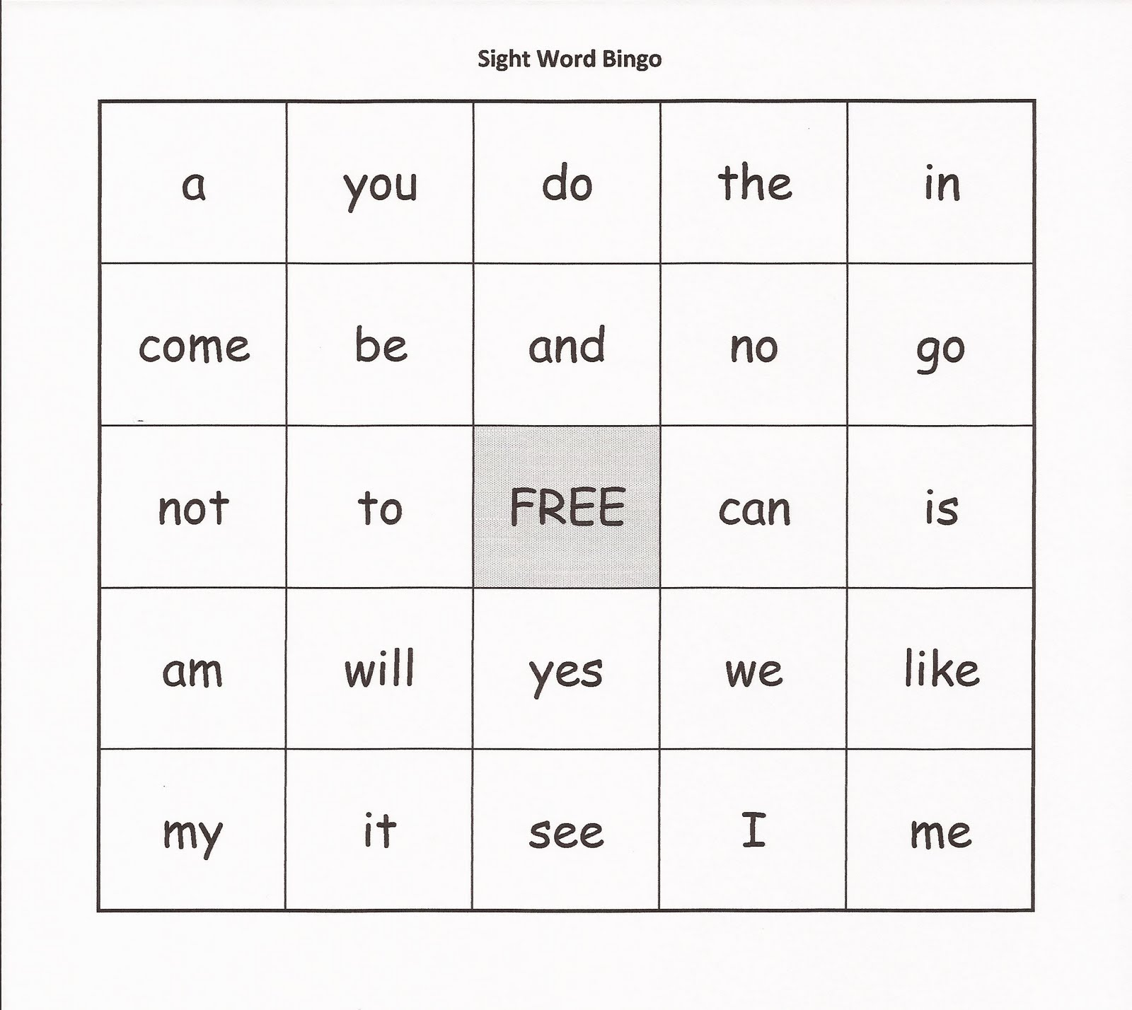 Unusual image in sight word bingo printable