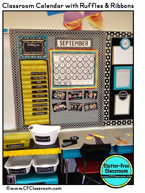 Classroom Calendar Ideas ~ Clutter free classroom calendar makeover