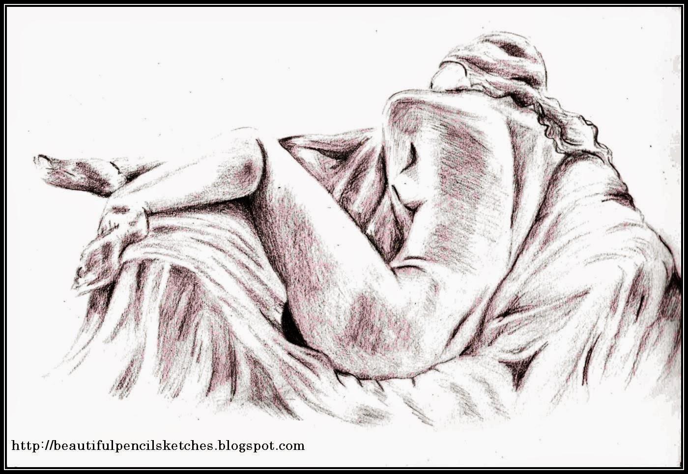 Pencil sketch of beautiful girl lying on sofa 140415 drawing beautiful figure