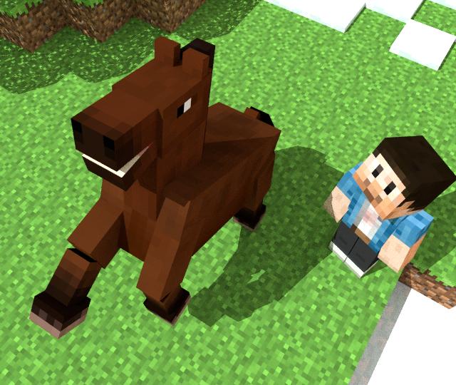 Minecraft 馬 3dモデル (.pmx/.obj形式