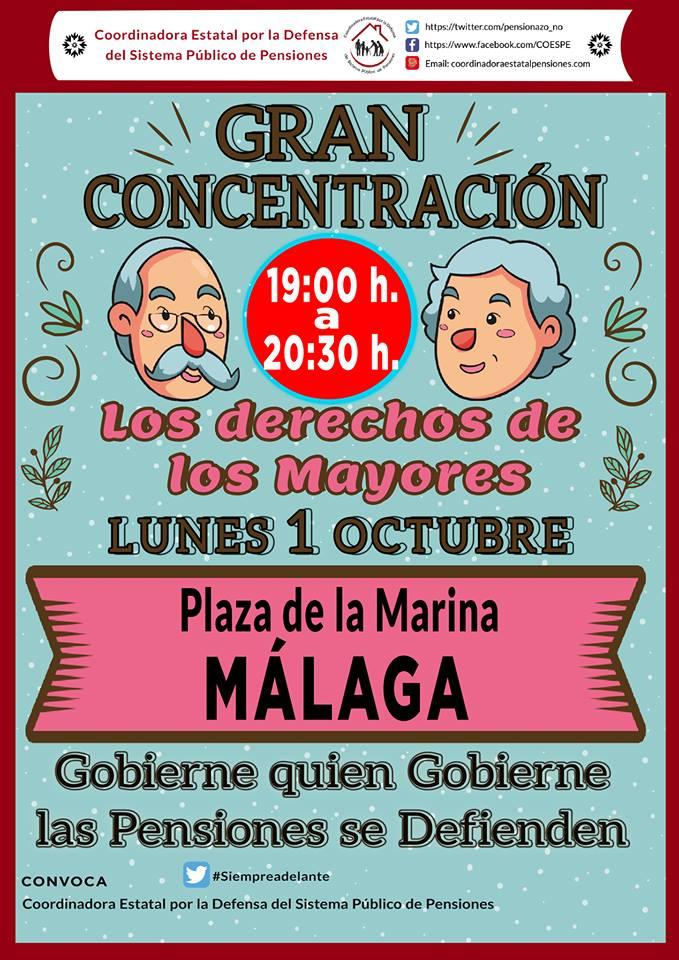 Relación ciudades andaluzas. Lunes 1 Octubre: Movilizaciones en el día de las personas mayores.
