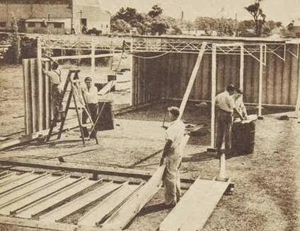 Testing the assembly of the 'future house' at the factory in NSW