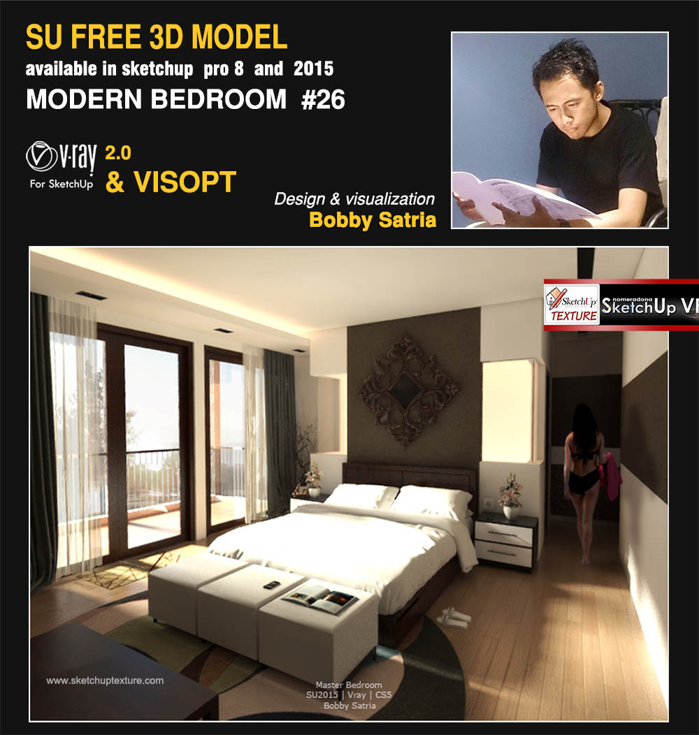 free sketchup 3d model modern bedroom #26 render vray 2.0