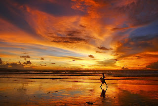Kuta's legendary beach sunset