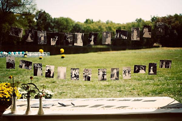 Tendedero de fotos para boda