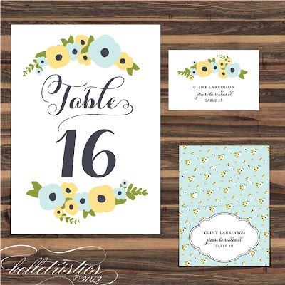 romantic hand drawn floral printable diy table number escort place cards editable