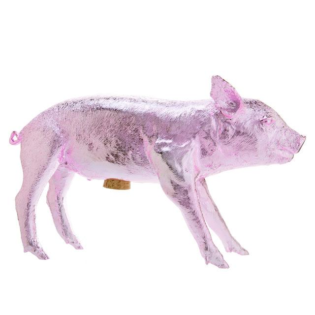 Bank in form of pig Harry Allen light pink pale chrome piggy bank metallic
