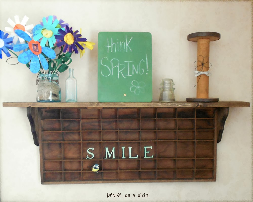 Spring Decor on a DIY Printer's Tray Shelf via http://deniseonawhim.blogspot.com