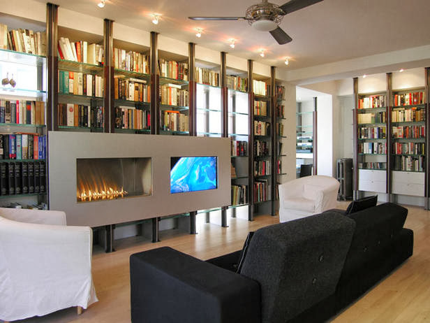 Living Room with Fireplace Wall Unit